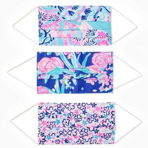 ⬇️ 3 pc Lilly Pulitzer face masks Fun Sun party